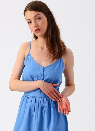 Vero Moda Vero Moda Düğme Detaylı Mavi Uzun Elbise Mavi